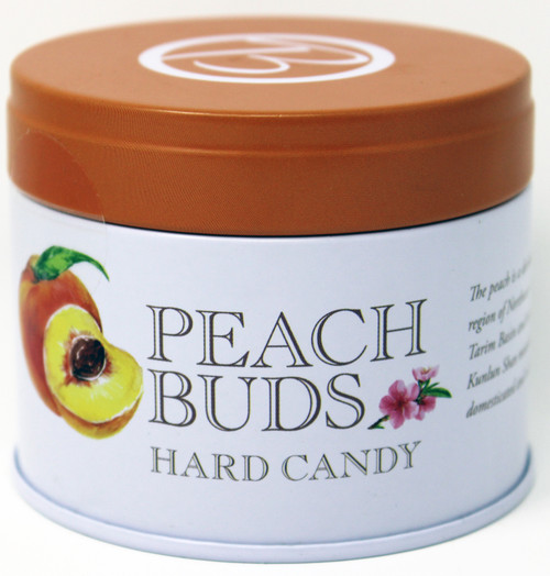 BF001 Butterfields Peach Buds Tin 3.5oz OLD FASHIONED CANDY We are the producer of 100% dairy free, gluten free, pure cane sugar Candy Buds located in Nashville, North Carolina. Our company makes handcrafted, old fashioned candy the same way it was done back in 1924. At Butterfields Candy Company, we proudly manufacture and package all of our products in the United States of America. We are the original makers of the classic Peach Bud hard candy. The Peach Bud's delicate bouquet of fresh, ripe, peachy tang, mixed with the sweet dab of smooth, creamy coconut is a perfect combination of flavors making it a gourmet favorite for almost a century. Capturing the true essences of your favorite fruits, we offer a variety of other flavors such as Key Lime, Lemon, Honeybell Orange, Ginger and Cherry.