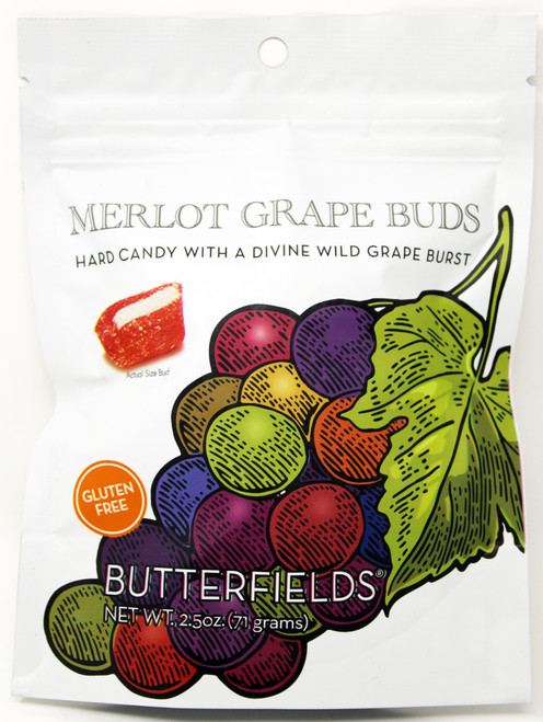 BF007 2.5oz Butterfields Merlot Grape Buds  Butterfields candies are 100% dairy free, gluten free, pure cane sugar Candy Buds located in Nashville, North Carolina. Our company makes handcrafted, old fashioned candy the same way it was done back in 1924. At Butterfields Candy Company, we proudly manufacture and package all of our products in the United States of America.