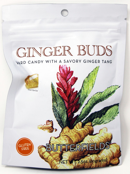 BF008 2.5oz Butterfields Ginger Buds Butterfields candies are 100% dairy free, gluten free, pure cane sugar Candy Buds located in Nashville, North Carolina. Our company makes handcrafted, old fashioned candy the same way it was done back in 1924. At Butterfields Candy Company, we proudly manufacture and package all of our products in the United States of America.