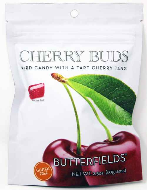 BF009 2.5oz Butterfields Cherry Buds  Butterfields candies are 100% dairy free, gluten free, pure cane sugar Candy Buds located in Nashville, North Carolina. Our company makes handcrafted, old fashioned candy the same way it was done back in 1924. At Butterfields Candy Company, we proudly manufacture and package all of our products in the United States of America