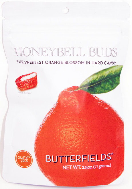 BF010 2.5oz Butterfields Honeybell Buds Butterfields candies are 100% dairy free, gluten free, pure cane sugar Candy Buds located in Nashville, North Carolina. Our company makes handcrafted, old fashioned candy the same way it was done back in 1924. At Butterfields Candy Company, we proudly manufacture and package all of our products in the United States of America.