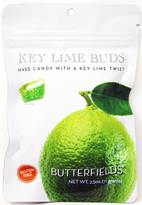 BF012 2.5oz Butterfields Key Lime Buds  Butterfields candies are 100% dairy free, gluten free, pure cane sugar Candy Buds located in Nashville, North Carolina. Our company makes handcrafted, old fashioned candy the same way it was done back in 1924. At Butterfields Candy Company, we proudly manufacture and package all of our products in the United States of America.