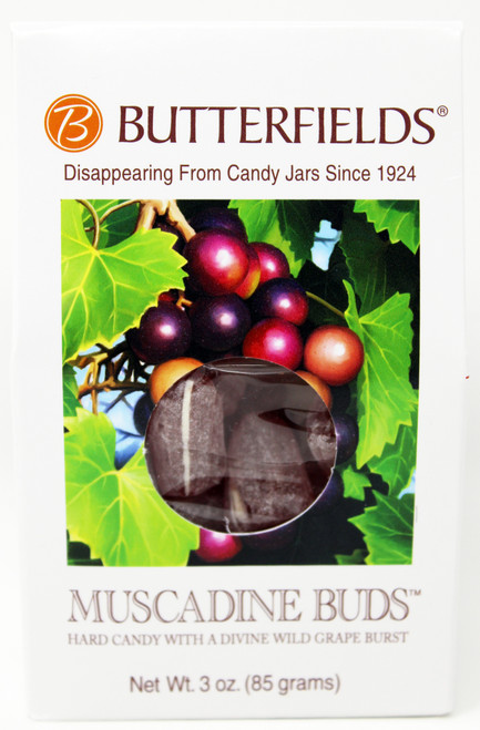 BF013 3oz Muscadine Buds Butterfields Butterfields candies are 100% dairy free, gluten free, pure cane sugar Candy Buds located in Nashville, North Carolina. Our company makes handcrafted, old fashioned candy the same way it was done back in 1924. At Butterfields Candy Company, we proudly manufacture and package all of our products in the United States of America.