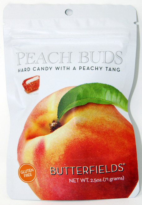 BF014 2.5oz Butterfields Peach Buds  Butterfields are the producer of 100% dairy free, gluten free, pure cane sugar Candy Buds located in Nashville, North Carolina. Our company makes handcrafted, old fashioned candy the same way it was done back in 1924. At Butterfields Candy Company, we proudly manufacture and package all of our products in the United States of America. Butterfields are the original makers of the classic Peach Bud hard candy. The Peach Bud's delicate bouquet of fresh, ripe, peachy tang, mixed with the sweet dab of smooth, creamy coconut is a perfect combination of flavors making it a gourmet favorite for almost a century. Capturing the true essences of your favorite fruits, we offer a variety of other flavors such as Key Lime, Lemon, Honeybell Orange, Ginger and Cherry.