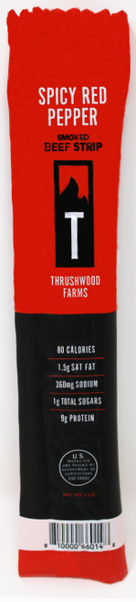 6147 1oz Spicy Red Pepper Beef Jerky Strip Thrushwood  Make your taste buds sizzle with the combination of red pepper and beef. Shelf Stable, no refrigeration needed.