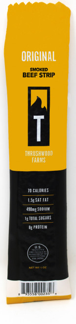Original Beef Jerky Strip Thrushwood We love beef jerky here at Thrushwood Farms! Taking dad's original summer sausage seasoning we have added it to our 100% Product of USA beef and now are able to sell you the best beef jerky in all of the USA