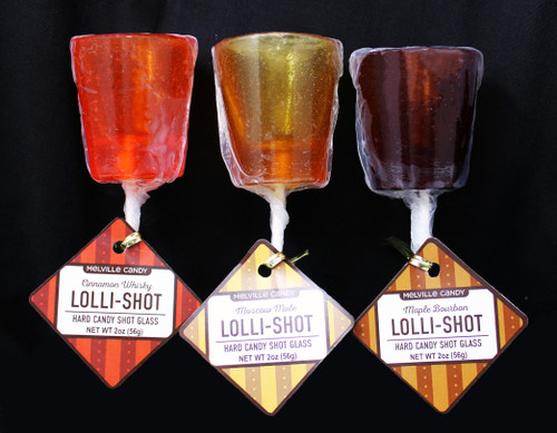 MC001 2oz Lolli-Shot Glass Candy Asst. Cinnamon Whisky, Moscow Mule, Maple Bourbon one of each flavor. Lolli-shots are hard candy shot glasses on lollipop sticks.. Flavors include Maple Bourbon, Moscow Mule, and Cinnamon Whisky. Each lolli-shot is hand poured; slight variations will occur. Individually wrapped Allergens: Soy Each lollishot weighs 2 oz Made fresh to order in the USA Hard Candy Shot Glass (each): Long: 2 inches - Wide: 2 inches - 7 inches with stick