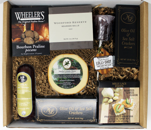 900 GiftBox-Bourbon Gourmet Gift Box Mille Lacs Summer Sausage- 5.0 oz Mille Lacs Garlic Cheese Spread- 3.75 oz 2 box of Crackers- .55 oz each Bourbon Lollishot Sucker Bourbon Woodford Reserve Bourbon Ball- 2.0 oz Wheelers Bourbon Praline Pecans- 2.0 oz  Gouda Cheese- 6.0 oz