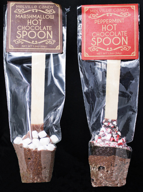 MC004 1.2oz Hot Chocolate Maker one of each flavor  Peppermint & Mini Marshmallow Hot Chocolate Spoons are created with chocolate and cocoa powder with mini marshmallows or chocolate and cocoa powder topped with crushed  peppermint, on wooden spoon handles. Each spoon makes 1 glass of hot cocoa; simply place in hot water or milk and stir until dissolved. Perfect enjoying a simple and mess-free hot cocoa experience! Each spoon is hand-made to order; slight variations will occur. Individually wrapped Each lollipop weighs 1.2 oz Allergens: Soy & Milk. May Contain: Egg, Wheat, Tree Nuts & Peanuts Made fresh to order in the USA.