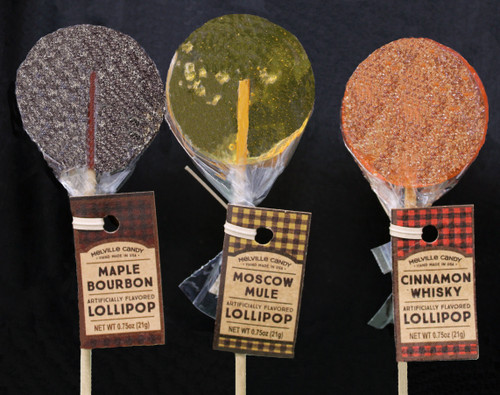 MC005 .75oz Cocktail Lollipop Assortment, Melville Candy Cocktail Lollipop Assortment Moscow Mule, Maple Bourbon and Cinnamon Whiskey One of each flavor Our Gourmet Cocktail Lollipops flavors are Moscow Mule, Maple Bourbon, & Cinnamon Whiskey. There are no artificial ingredients in these lollipops. This item comes with paper hang tags on each stick. Each lollipop is hand-poured; slight variations will occur. Individually wrapped Allergens: Soy Each lollipop weighs 0.75oz