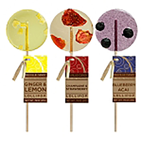 MC007 .75oz Gourmet Lollipop Assortment 12/Case 3 flavors  Gourmet Lollipops come with flavors include Blueberry Acai, Strawberry Champagne, & Lemon Ginger. There are no artificial ingredients in these lollipops. This item comes with paper hangtags on your choice of stick. Each lollipop is hand-poured; slight variations will occur. Individually wrapped Allergens: Soy Each lollipop weighs 0.75oz Made fresh to order in the USA