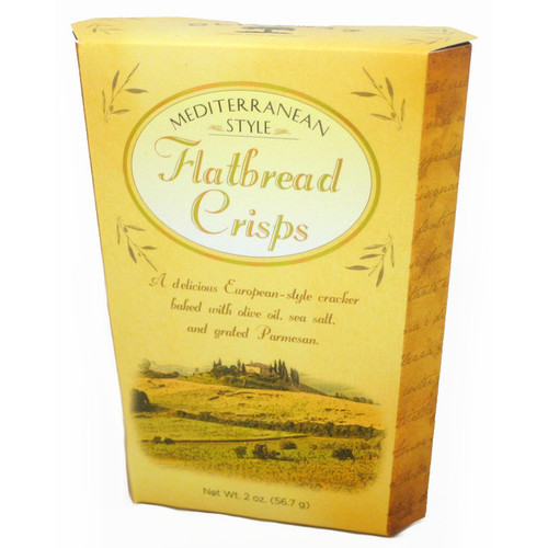 3086 2oz Flatbread Crisps A delicious European style cracker baked with olive oil, sea salt, and Parmesan. Perfect for wine themed gift baskets or tasting rooms.  Made in California