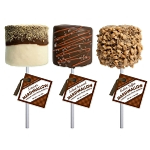 MC008 1.5oz Giant Chocolate Covered Marshmallows 3 flavors Giant Marshmallows Assortment comes with 3 giant marshmallows dipped in chocolate and coated with toppings. The flavors in this assortment include Caramel Sea Salt, S'More and Toffee. Each Giant Marshmallow is hand-dipped and hand-decorated; slight variations will occur. Allergens: Soy, Milk, Tree Nuts. May Contain: Wheat, Egg, & Peanuts. Individually wrapped Each lollipop weighs 1.5oz Made fresh to order in the USA