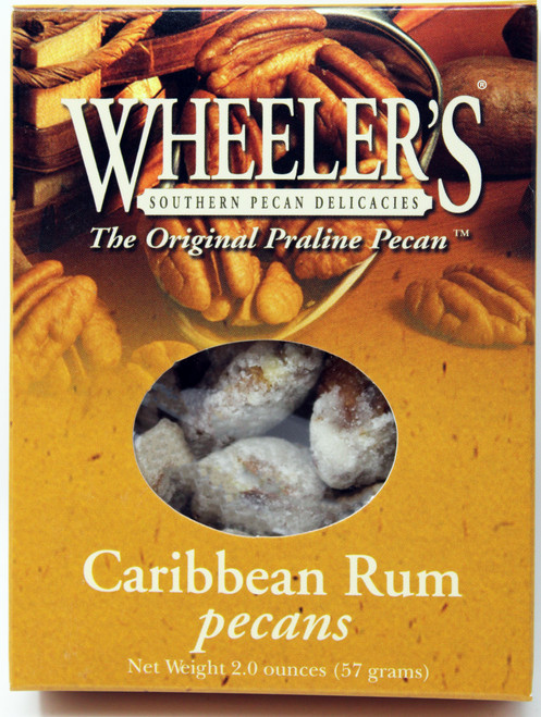 2610 2oz Caribbean Rum Pecans Wheeler's  Take your mouth on a vacation with these Caribbean Rum pecans. These gourmet pecans take you places!
