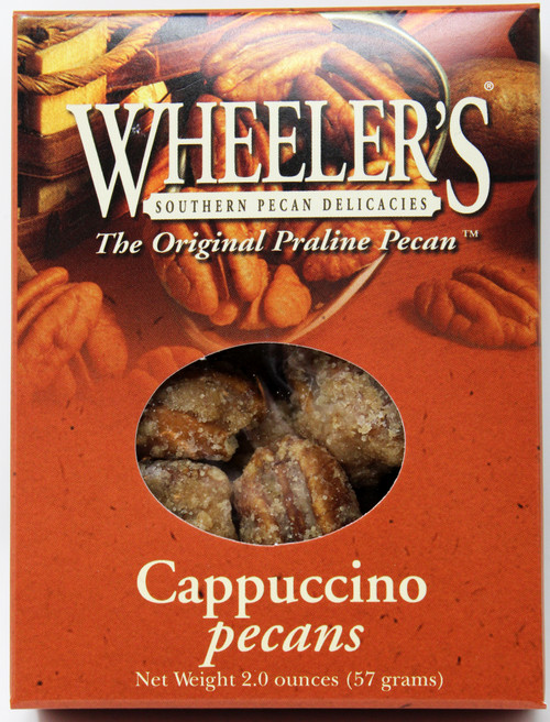2611 2oz Cappuccino Pecans Wheeler's Cappuccino gourmet pecans are perfect for coffee lovers! They make a great addition to any meal.