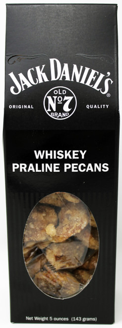 2614 5oz Jack Daniels Whiskey Praline Pecans  You'll want these straight up. The mellow and distinctive Jack Daniel's flavor is combined with the plumpest, freshest gourmet pecans for a memorable taste and gift selection.