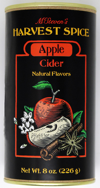 2530 8oz Harvest Spice Apple Cider McStevens Harvest Spice Apple Cider is the perfect gift for lovers of fall beverages, or for your own cabinet. Coming in an 8 oz container sporting gorgeous autumnal art, it's the perfect way to embrace the Fall season. Simply add water for an incredible treat.