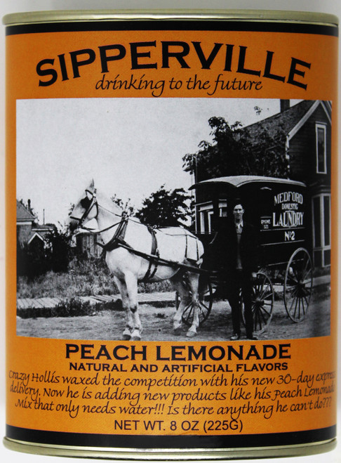 "2531 8oz Sipperville Peach Lemonade They are drinking to the future in Sipperville! Enjoy reading a humorous story about Crazy Hollis while sipping our tasty peach lemonade.  Not too tart, not to sweet...just right. This classic metal oval tin is both reusable and recyclable.  Just add water and enjoy!  Net weight 8 oz. Bottom Front Picture Description:  ""Crazy Hollis waxed the competition with his new 30 day express delivery. Now he is adding new products like his Peach Lemonade Mix that only needs water!!! Is there anything he can't do???"""