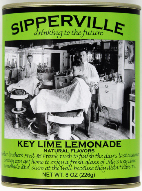 "2532 8oz Sipperville Key Lime Lemonade They are drinking to the future in Sipperville! Enjoy reading a humorous story about the Barber Brothers while sipping our tasty key lime lemonade.  Not too tart, not to sweet...just right. This classic metal oval tin is is both reusable and recyclable.  Just add water and enjoy!  Net weight 8 oz. Bottom Front Picture Description:  ""Barber Brothers Fred and Frank rush to finish the days last customer so they can get home to enjoy a fresh glass of Ma's Key Lime Lemonade and stare at the wall because they didn't have a TV."""