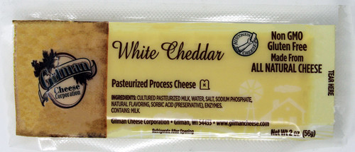 2007 2oz Gilman White Cheddar Bar Kosher, Shelf Stable Cheese, Non GMO, Gluten Free, Made with All Natural Cheese