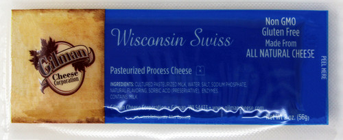 2009 2oz Gilman Wisconsin Swiss Bar Kosher Shelf Stable Cheese, Gift Basket Supplies, Non GMO, Gluten Free, Made with All Natural Cheese