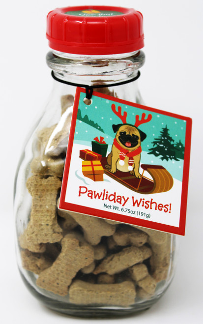 PF001 6.75oz Pawliday Wishes Dog Treats in Milk Bottle  Send your favorite dog some pawliday wishes, Glass Milk Jar dog bones, a great gift for anyone with a dog in their life!