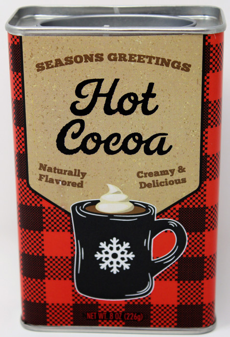 2534 8oz Seasons Greetings Red Plaid Hot Cocoa Tin McStevens Winter Warner tins feature modern and on-trend artwork with delicious chocolate hot cocoa inside! The metal tin and plug-top lid complete this gift with an awesome retro feel.