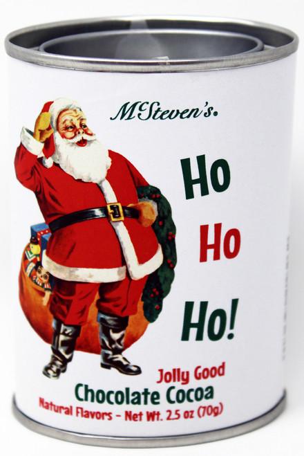 2535 2.5oz Ho, Ho, Ho, Santa Jolly Good Cocoa Mix Tin McStevens Ho, Ho, Santa Jolly Good Cocoa Mix Tin McStevens, Gourmet Chocolate Cocoa, vintage design, Gourmet Food, Gift Basket Supplies