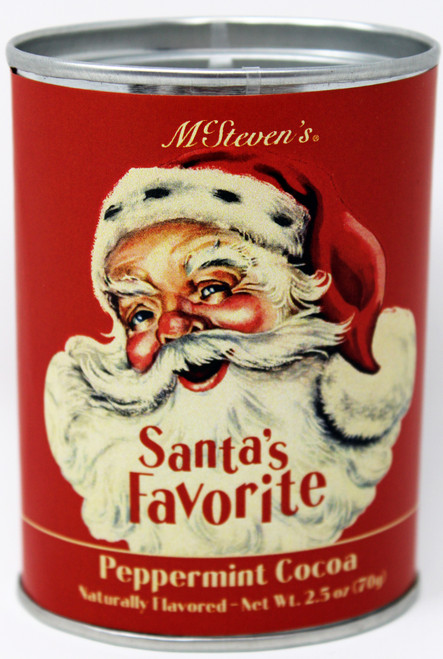 2536 2.5oz Santa's Favorite Peppermint Cocoa Tin  Enjoy our timeless Peppermint Cocoa in this classic pry-top tin featuring vintage Santa artwork.
