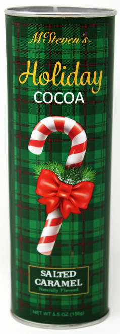 2537 5.5oz Salted Caramel Green Plaid Cocoa Holiday Design  Salted Caramel Green Plaid with Candy Cane Cocoa Holiday Design McStevens Tin