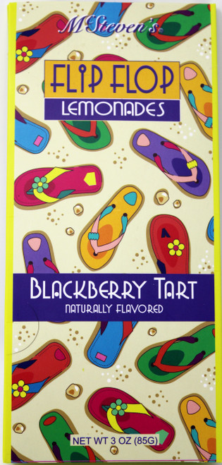 2539 3oz Flip Flop Blackberry Tart Lemonade Mix   A refreshing naturally flavored Blackberry Lemonade mix for the summertime flip flop lover in you! This sweet, yet tart, blackberry drink mix comes in a free standing triangle box.