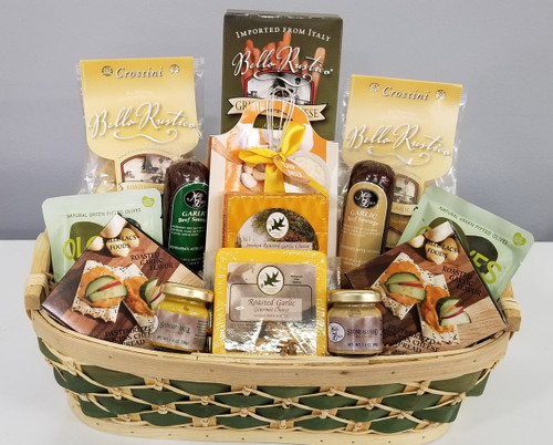 Gift 666  Rustic Wraps Social Distancing Gift Basket.  85.00 each Full of tasty garlic treats this gift will keep everyone at bay for that social distance we need to keep OR of course that Garlic lover in your life.    6oz Roasted Garlic Cheese.  6oz Smoked Roasted Garlic Cheese.  Dill Mustard Stone Ground Mustard 2- 1.1oz bag of Basil and Garlic Olives 2- 5oz Garlic Summer Sausage BBQ Garlic Dip Mix Tomato and Oregano Breadsticks 2 Roasted Garlic Crostinis 3.75oz Box of Garlic Cheese Spread