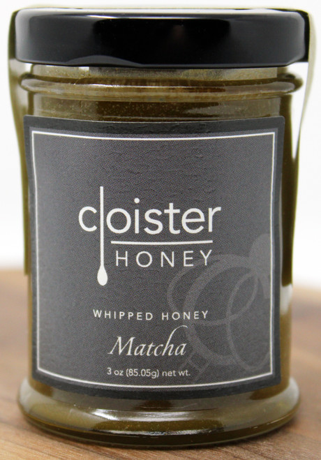 "CH021 3oz Matcha Whipped Honey Cloister It's a matcha made in heaven. Created from stone-ground green tea leaves into a delicate powder, matcha is dissolved in hot water to make tea or used as a flavoring. The traditional Japanese tea ceremony, which the matcha ritual stems from, has mindfulness at its roots. Ichi-go ichi-e (""one time, one meeting"") is the idea that every encounter is unique and can never be reproduced. This whipped honey, with it's uniquely earthy taste and color, is a reminder to stay grounded and enjoy each and every moment. Add as a topping granola, yogurt, and fruit parfaits Mix in with homemade ice cream"