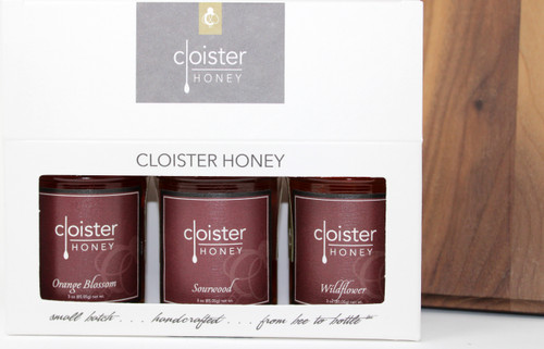 """CHG01 Orange Blossom, Sourwood, Wildflower Cloister Honey Gift  Honey Trios are a great way to share your love of honey with friends and family.  Three of our 3 oz. """"taster-sized"""" jars in a simple box ... keep them on hand in case for gift emergencies !"""