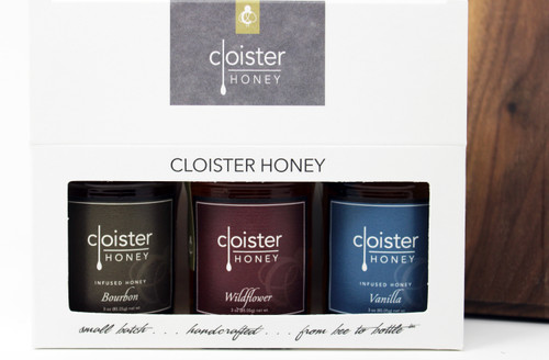 "CHG02 Bourbon, Wildflower, Vanilla Infused Cloister Honey Gift Honey Trios are a great way to share your love of honey with friends and family.  Three of our 3 oz. ""taster-sized"" jars in a simple box ... keep them on hand in case for gift emergencies !"