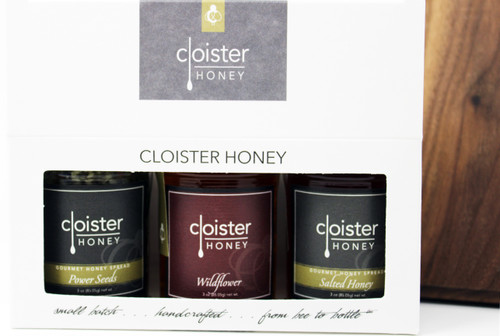 "CHG03 Power Seeds, Salted Honey, Wildflower Honey Spreads Gift  Honey Trios are a great way to share your love of honey with friends and family.  Three of our 3 oz. ""taster-sized"" jars in a simple box ... keep them on hand in case for gift emergencies !"