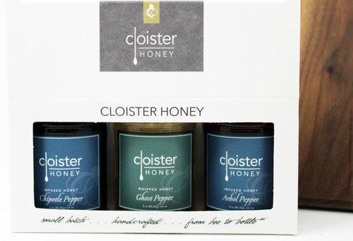 """Honey Trios are a great way to share your love of honey with friends and family.  Three of our 3 oz. """"taster-sized"""" jars in a simple box ... keep them on hand in case for gift emergencies !"""