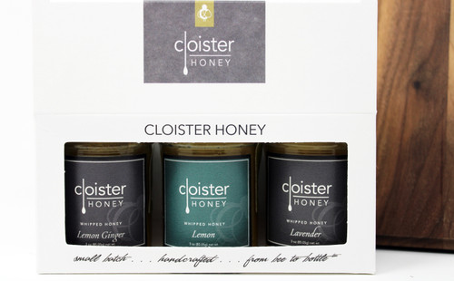 "CHG05 Lemon Ginger, Lemon, and Lavender Whipped Honey Gift  Honey Trios are a great way to share your love of honey with friends and family.  Three of our 3 oz. ""taster-sized"" jars in a simple box ... keep them on hand in case for gift emergencies"