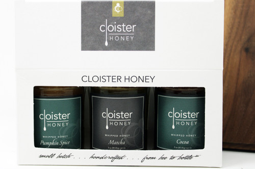 """CHG06 Pumpkin Spice, Matcha, and Cocoa Whipped Honey Gift  Honey Trios are a great way to share your love of honey with friends and family.  Three of our 3 oz. """"taster-sized"""" jars in a simple box ... keep them on hand in case for gift emergencies !"""
