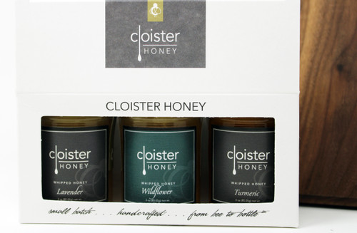 "CHG07 Lavender, Wildflower, and Turmeric Whipped Honey Gift  Honey Trios are a great way to share your love of honey with friends and family.  Three of our 3 oz. ""taster-sized"" jars in a simple box ... keep them on hand in case for gift emergencies !"
