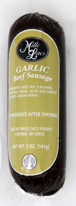 ML43290 5oz Mille Lacs Garlic Beef Summer Sausage  with Gold Label, All Beef, No MSG, Gluten Free $5.30 each
