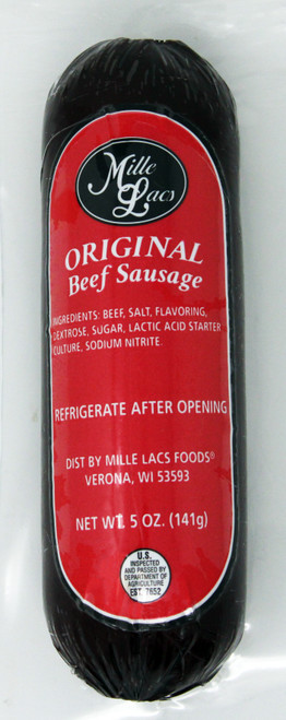 ML43291 5oz Mille Lacs Original Beef Summer Sausage Red Label, Gluten Free, No MSG, shelf stable $5.30 each