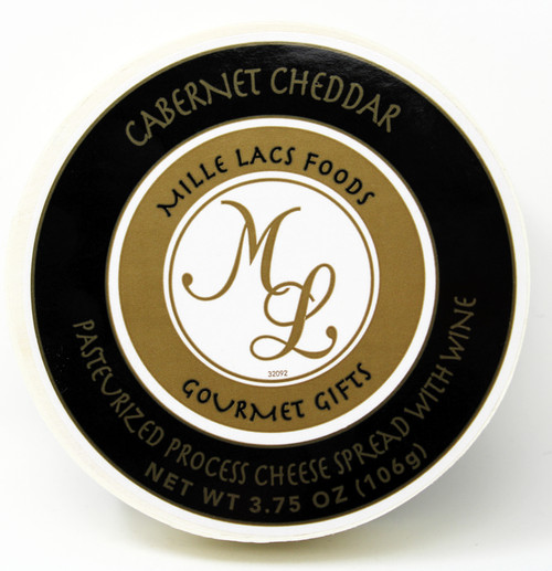 ML43200 3.75oz Mille Lacs Cabernet Cheddar Wine Cheese Spread in wooden hoop