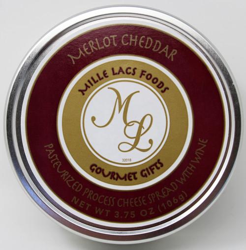 ML43120 3.75oz Merlot Cheddar Cheese Spread Tin