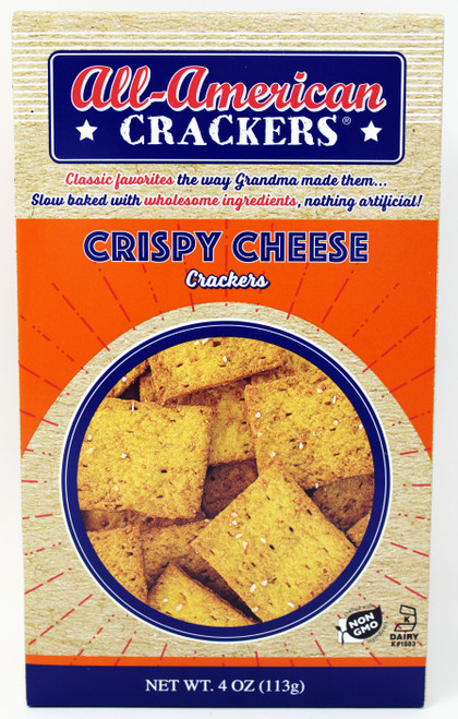 8404 4oz Partner's Crispy Cheese Cracker, Kosher Dairy, Kosher Dairy, Non GMO, Made in the USA by a second-generation family-owned company, nothing artificial, slow baked