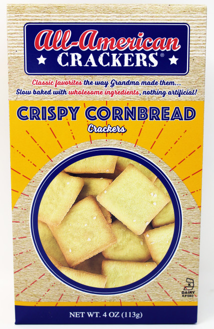 8402 4oz Crispy Cornbread All American Crackers, Kosher Dairy, Non GMO Made in the USA by a second-generation family-owned company, nothing artificial, slow baked