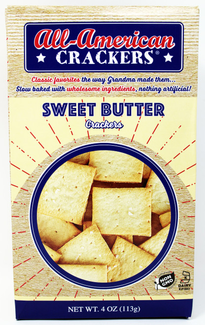 8403 4oz Sweet Butter All American Cracker Kosher Dairy, Non GMO Made in the USA by a second-generation family-owned company, nothing artificial, slow baked