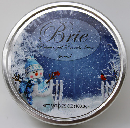 1143XMas Rustic Wraps 3.75oz Brie Tin Snowman Design, shelf stable Brie Cheese in decorative metal tin  Best By Date: 10/06/22