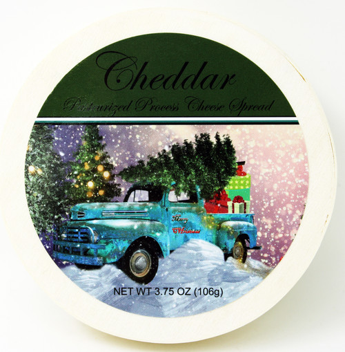 1145Xmas 3.75oz Cheddar Cheese Spread Hoop Truck Design, shelf stable cheese, Limited Addition