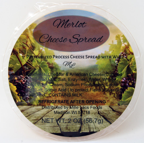 43230D 2oz Mille Lacs Merlot Wine Cheese Cup, Shelf Stable Merlot Wine Cheese Spread